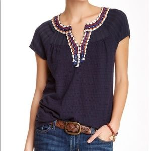 Lucky Brand Embroidered Peasant Top ~ Navy Tee